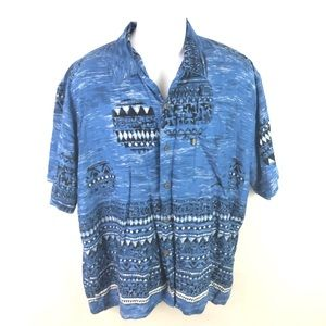 Vintage pineapple connection men's button front L